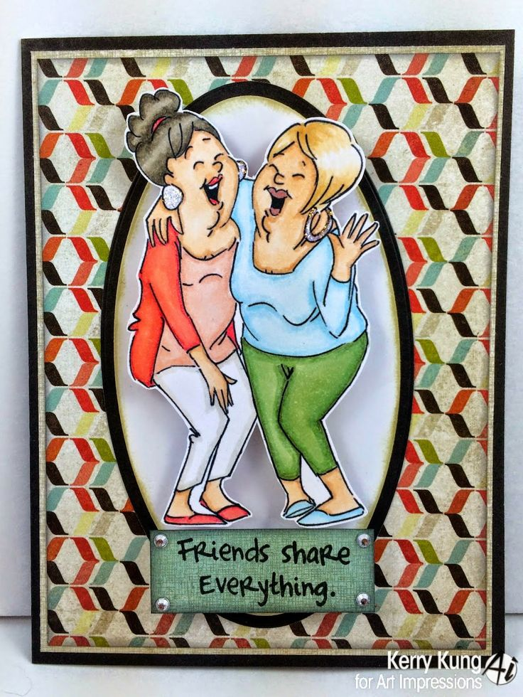 Art Impressions Rubber Stamps:Laughing Set (Sku#4385)   2014 GIRLFRIENDS card.