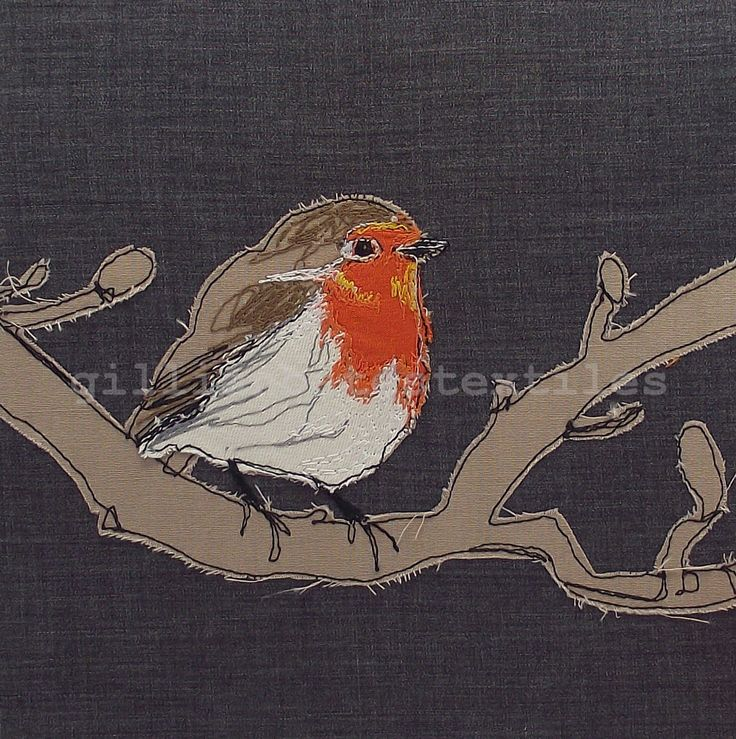 Robin. Freehand machine embroidery. ©gillianbates 2014