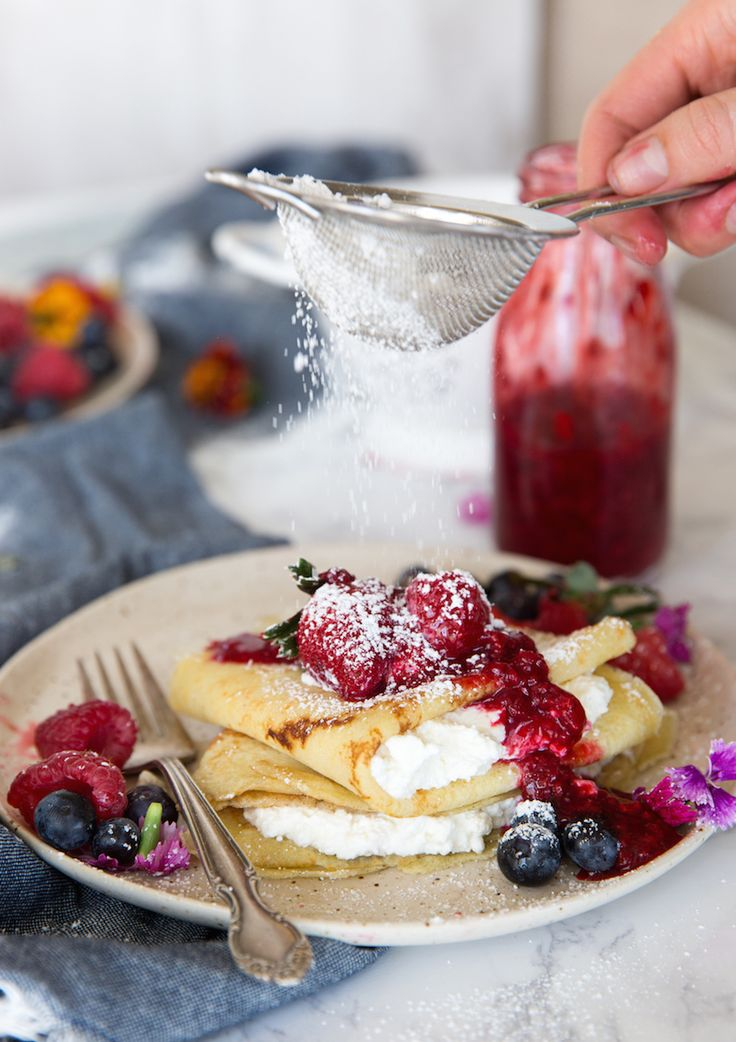 Raspberry and ricotta crepes via Camille Styles