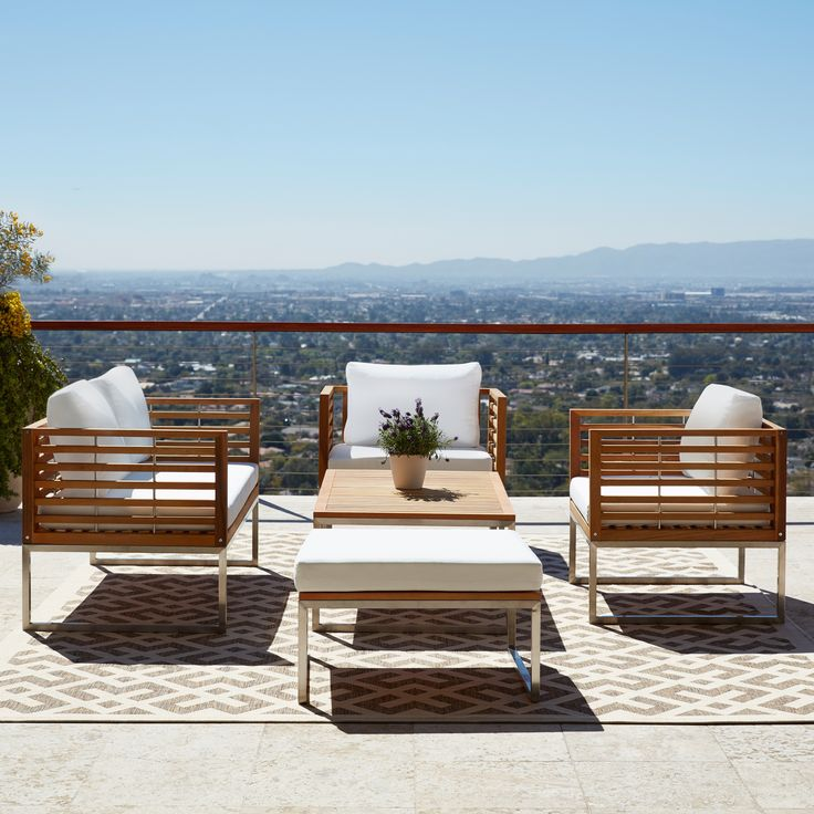 Bermuda Stainless Steel And Teak Luxury 5 Piece Patio Conversation Set |  Overstock.com Part 62
