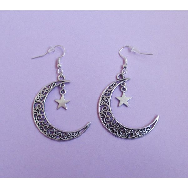 crescent moon earrings, pastel goth, nu goth, pastel grunge, witchy... (33 LTL) ❤ liked on Polyvore