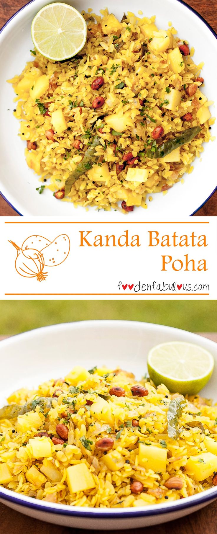 A very popular Maharashtrian breakfast - Kanda means onions in Marathi, Batata is potatoand poha is Rice flakes/flattened rice. Flattened rice (also called beaten rice) is a dehusked rice which is flattened into flat light dry flakes.