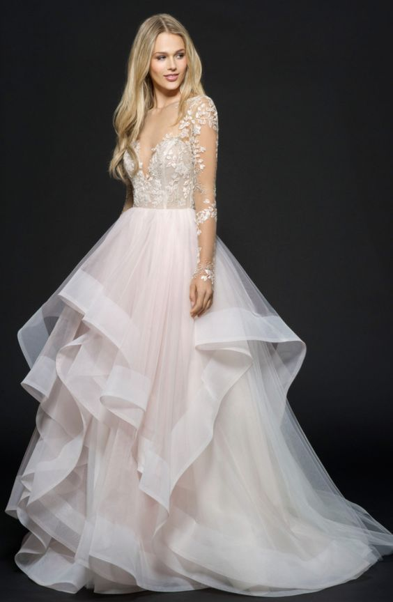 Stunning rose long-sleeve floral applique wedding dress with cascading tulle skirt; Featured Dress: Hayley Paige