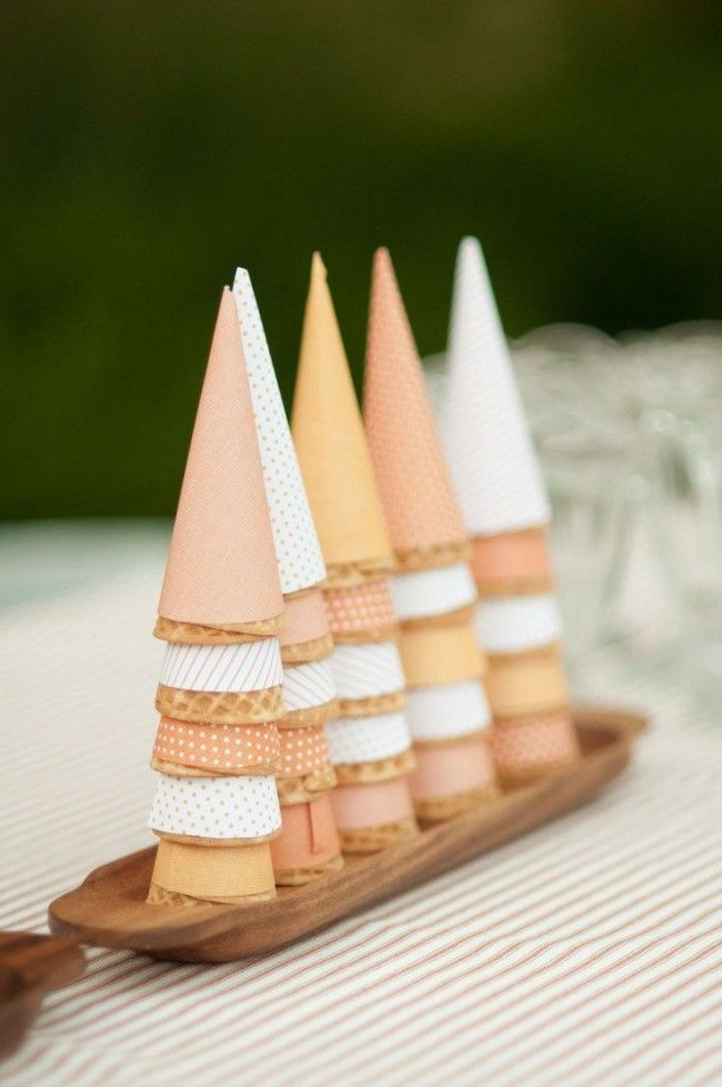 ice cream cone bar at a summer party, great for kids or adults, fancy or simple. peach, blush, pastel, ice cream cone papers.