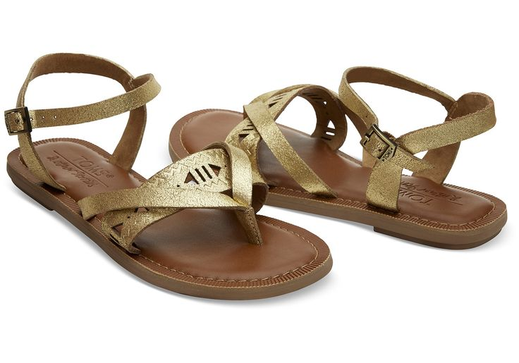 Gladiator-inspired Lexie sandal in premium materials with a gold metallic finish. An & Other Stories collaboration.