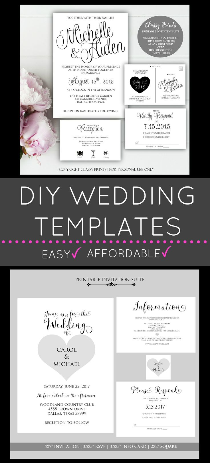 DIY Wedding Invitations, Printable Wedding Invitations, Wedding invitation templates & more!