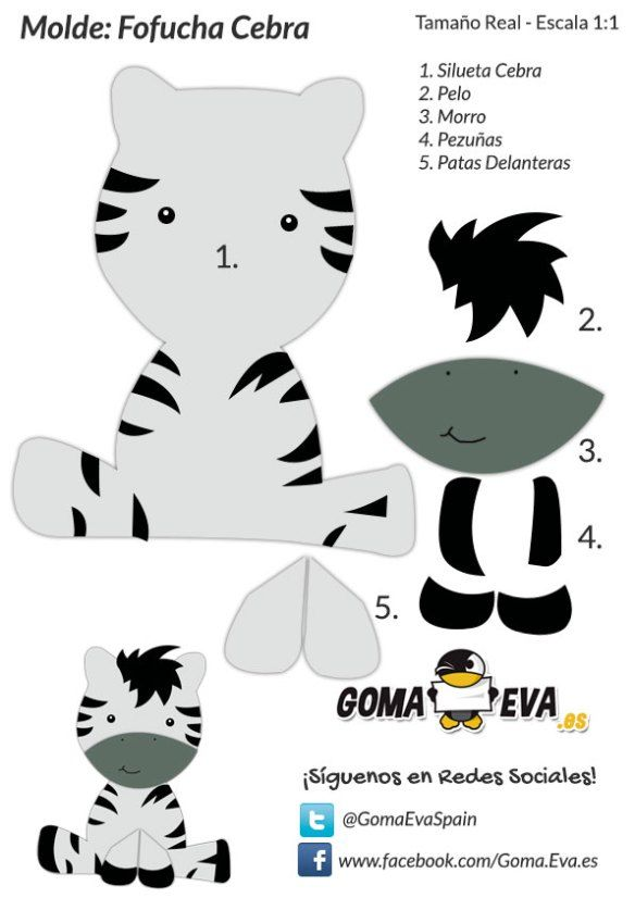 Molde-Fofucha-Cebra                                                                                                                            Más