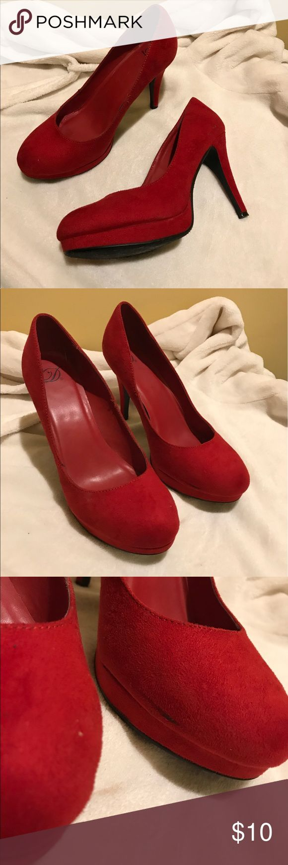 Red Platform Heels Size 10 Worn, but in good condition other than a small black scuff that is shown in pictures. Size 10 red Platform Heels. Shoes Heels