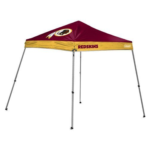 NFL Washington Redskins 10 x 10-Feet Slant Leg Canopy by Licensed Products. $139.99. 10 Foot by 10 Foot Slant Leg Canopy. Features Team Logos and Colors and comes with team logoed carry case. Frame 28mm X 28mm Powder Coated Steel. Shelter wall not included. Made of 150D Poly Oxford Material. Be the host of the party at the your next tailgate and show your team pride with this Coleman branded shelter.