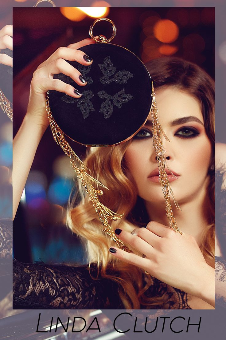 A black suede clutch with Swarovski crystals is perfect for a stunning appearance @w