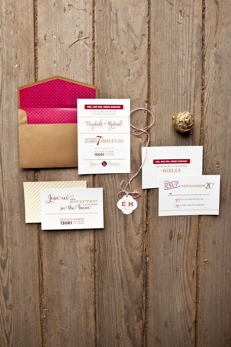 red and gold invitations by Ten Four