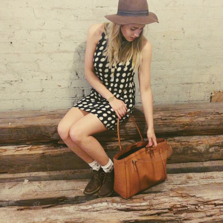 Jenna's Friday #ootd! Daisy shift dress + floppy felt hat from @Urban Outfitters . Brown Leather tote from @Target . Boots by #clarks #natural #target #urbanoutfitters #spring #fashion #nashville #tote #leather #floppyhat #shiftdress