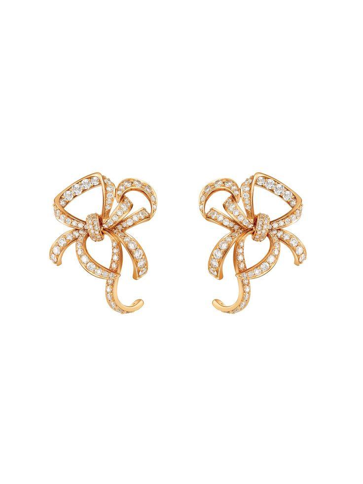 Hueb Rose Gold Diamond Fancy Bow Earrings | Earrings | Jewelry