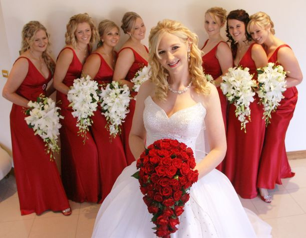 red and white wedding dresses   Red Bouquet and Red Bridesmaid's dress..