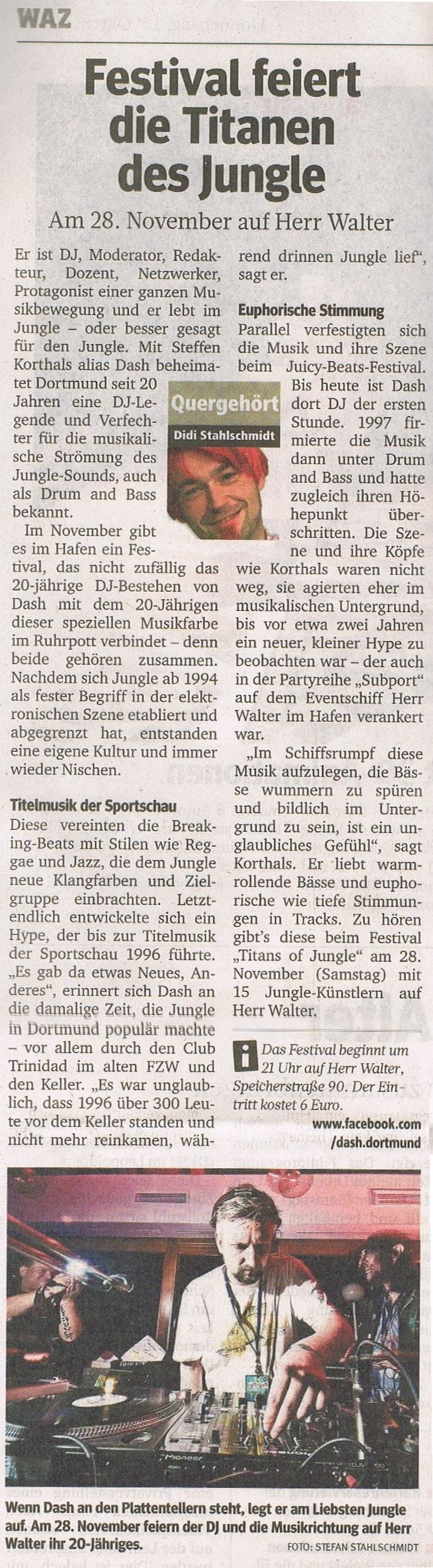 """WAZ, RN, WR and all over the place in today's newspaper => portrait of Dash / Steffen Korthals in the light of '20 years of Dash - 20 years of Jungle' plus the """"Titans of Jungle"""" festival at Herr Walter, 28.11.2015"""