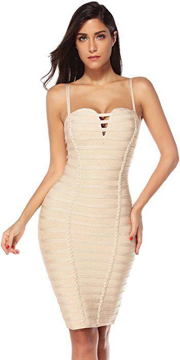 616286b137b Meilun Womens Strappy Mini Bodycon Bandage Dress Clubwear Dress (Beige, M)  at Amazon Women's Clothing store: