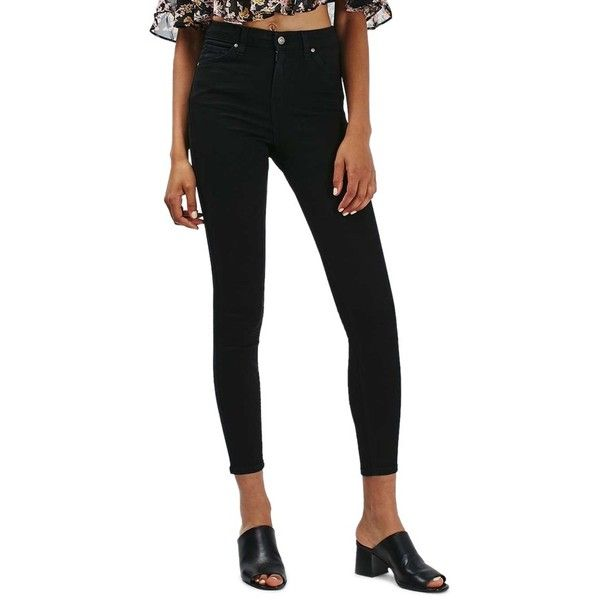 Women's Topshop Jamie High Waist Ankle Grazer Skinny Jeans ($40) ❤ liked on Polyvore featuring jeans, black, high waisted jeans, skinny jeans, highwaist jeans, high-waisted skinny jeans and cut skinny jeans