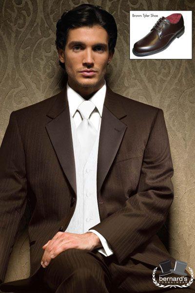 -luxuriously soft Super 100s tone-on-tone #tuxedo  -chocolate brown  www.bernardsformalwear.com #bernardstux