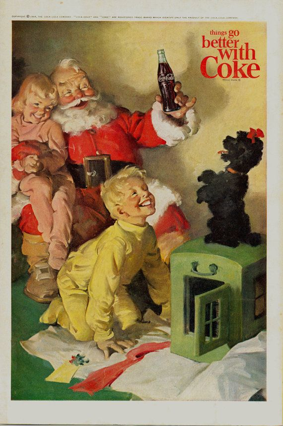Vintage Magazine Ad from 1964 Magazine Santa and Coca Cola Children Black Poodle Things Go Better with Coke