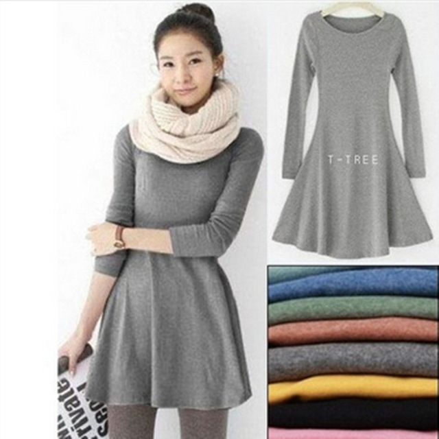 Fashion Clothes Vestidos Women Dress 2017 Spring Autumn Winter Dress Female 100% Cotton O-Neck Long Sleeve Dress Woolen Dresses