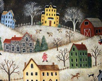 Navidad arte popular cuenco madera pintura primitiva, aldea del invierno, Saltbox casas, zorro, venado, copos de nieve, caballo dibujado trineo, hecho a la medida