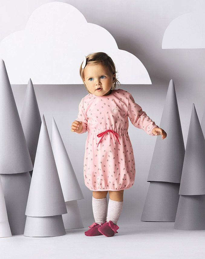 EWA KLUCZE, kolekcja WINTER, jesień zima 2016, sukienka bawełniana łososiowa  EWA KLUCZE, WINTER collection, autumn winter 2016, pink cotton dress, baby girl clothes