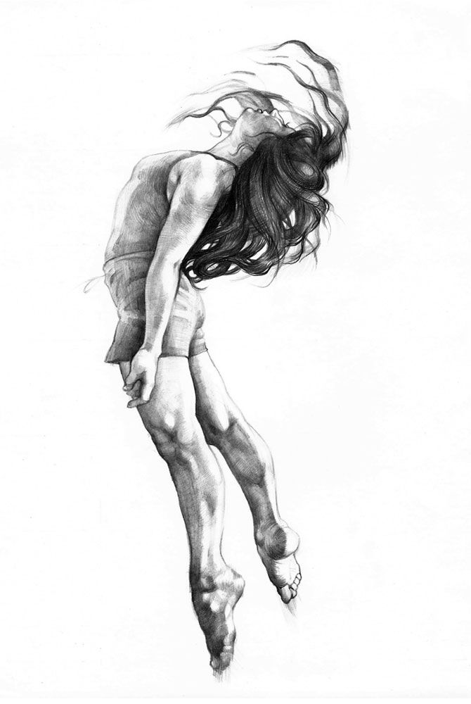 "This artist has a series of sketches of people dancing and other - would love to have the dance series as artwork. ""Jump"" by Karolina Szymkiewicz [karolful]"