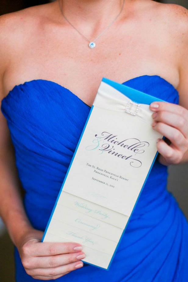 Elegant Hawaii wedding invitation from Penny Ann Designs (Photo by Clane Gessel Photography)