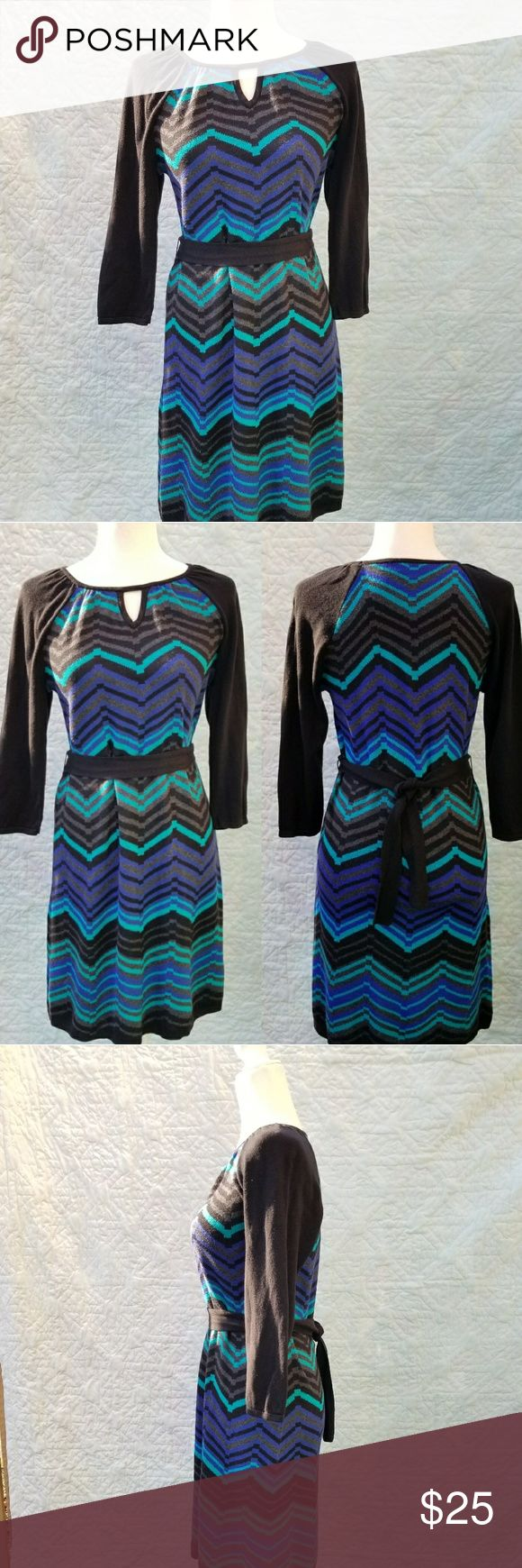 "NWOT Spense Petite Sweater Dress Chevron Pattern Spense Petite Sweater Dress in Blue/Teal Chevron print  3/4 sleeves  Stretchy fabric  Bust: 17 1/2"" Waist: 17"" Length: 36 1/2""  New, never worn! Spense Dresses"