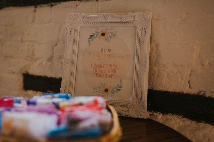Vintage handkerchiefs and a pretty sign is a very thoughtful way of thinking about your guests. Photo by Benjamin Stuart Photography #weddingphotography #vintage #handkerchiefs #weddingdecor #ceremonydecor #weddingideas #weddingday