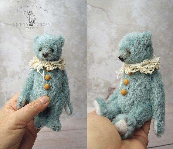 Annalise Miniature Blue Mohair Artist Teddy Bear by aerlinnbears