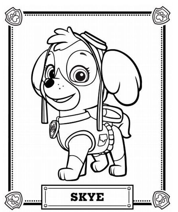Skye The Eye On Sky Cute Pup From Paw Patrol Coloring Page