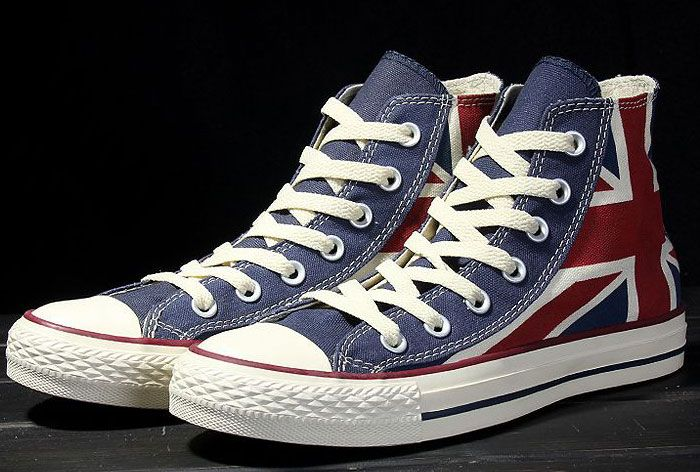 5f774ad30ebe Converse British Flag Rock Union Jack Red Blue High Tops Chuck Taylor All  Star Canvas Sneakers  converse  shoes