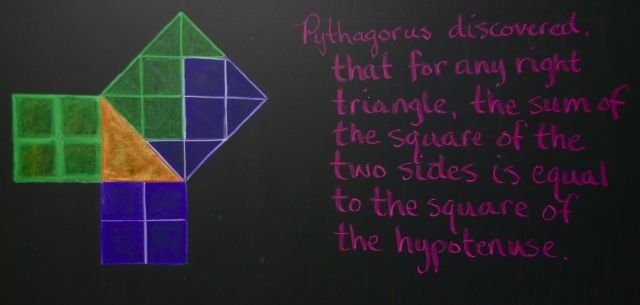 Waldorf ~ 5th grade ~ Geometry ~ Pythagorean Theorem ~ chalkboard drawing