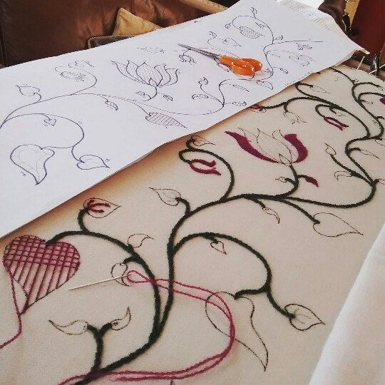 Summer crewelwork lampshade being embroidered.