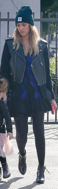 Who made  Jessica Alba's black leather jacket, purple plaid shirt, and hat?