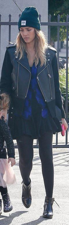 Jessica Alba's black leather jacket, purple plaid shirt, and hat style id