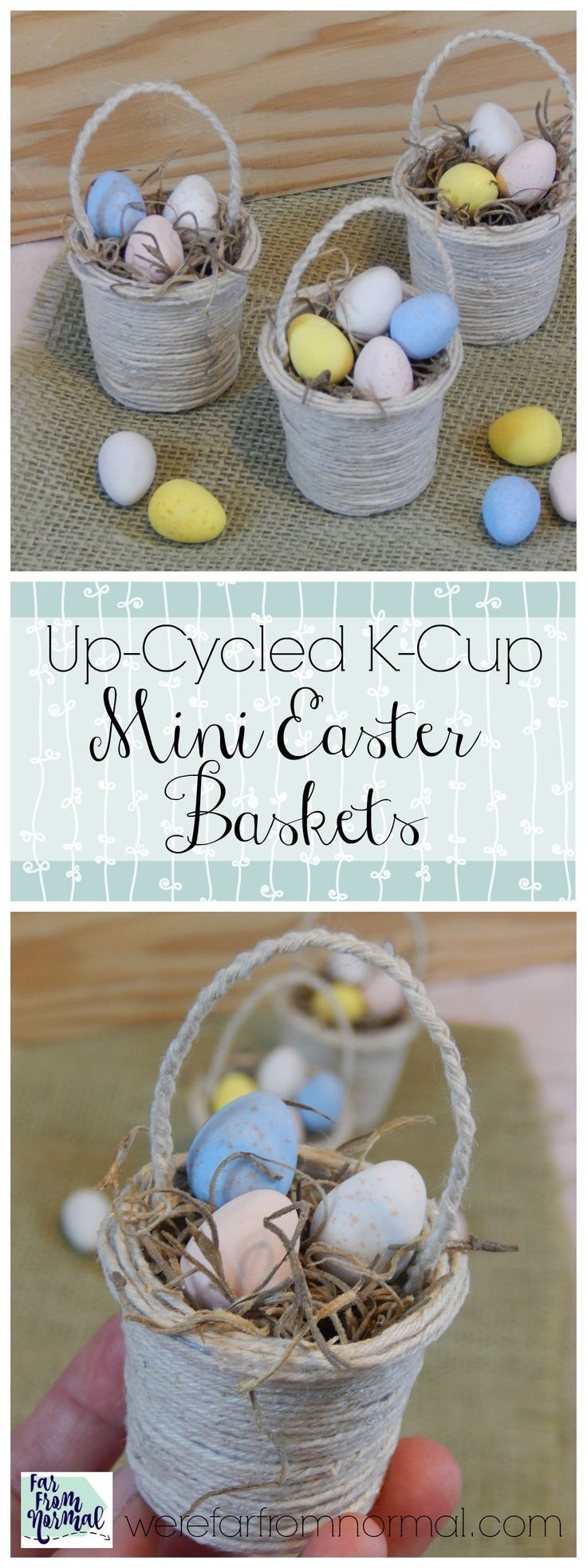 Do you have a stack of K-cups lying around waiting to be made into the perfect craft? Make some of these super cute mini Easter baskets!