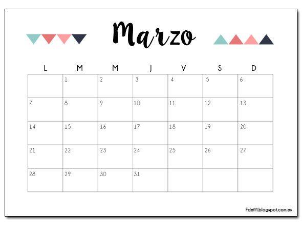 Blog F de Fifi: manualidades, imprimibles y decoración: Imprimible gratuito: calendario para marzo 2016