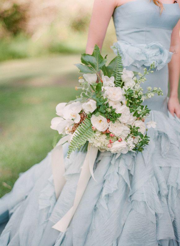 Baby blue wedding gown by Tara La Tour via Wedding Sparrow blog - http://weddingsparrow.com