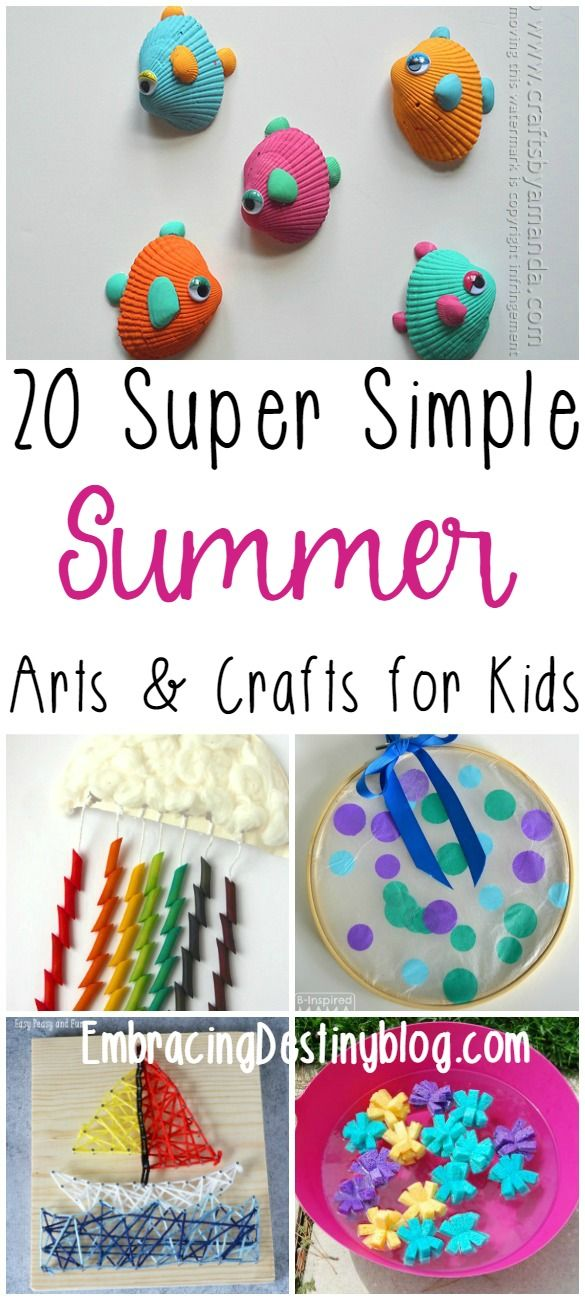 Get inspired by these 20 super simple fun summer arts and crafts for kids! Tons of ideas that you can do with stuff around the house.