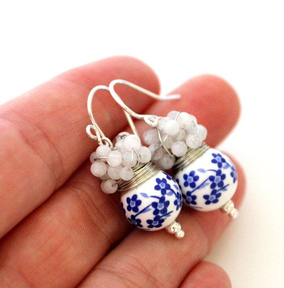 FREE shipping - The Folk - fresh earrings with round ceramic bead and cluster of moonstones via Etsy
