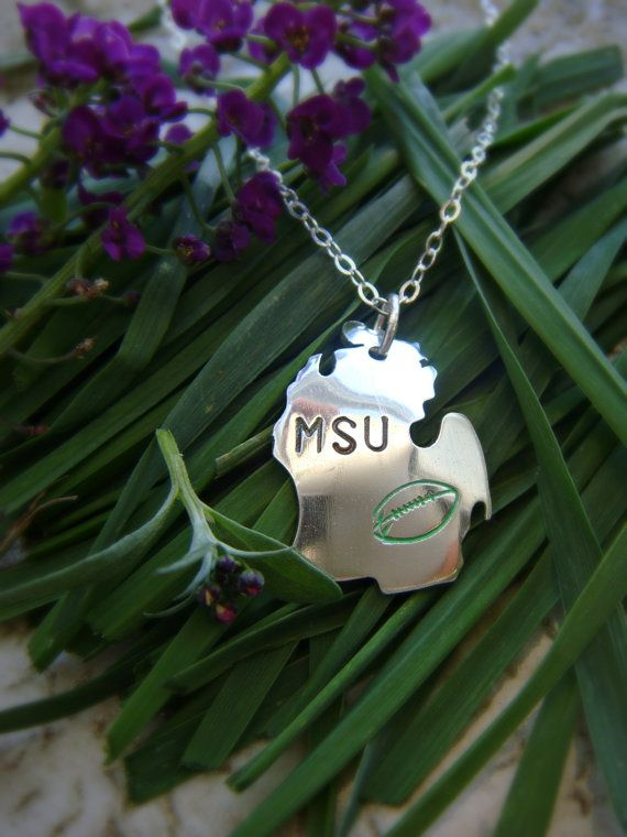 Michigan State University Football Pendant in by sprout1world, $45.00