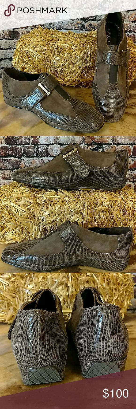 NWOB Almafi by Rangoni Italian Loafers New without box. Beautiful Italian made brown suede and faux snake shoes,  elastic front gore, velcro adjustable buckle, rubber Soul. Size 7 Amalfi by Rengoni Shoes Flats & Loafers