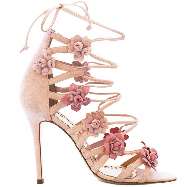 Marchesa Gianna Floral Sandal ($1,095) ❤ liked on Polyvore featuring shoes, sandals, heels, pink, laced sandals, floral heels shoes, suede leather shoes, floral pattern shoes and suede shoes
