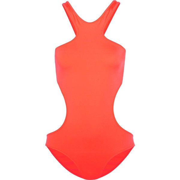 Melissa Odabash Ibiza neon cutout swimsuit ($225) ❤ liked on Polyvore featuring swimwear, one-piece swimsuits, bright orange, underwire bathing suits, side cut out swimsuit, cut out swimsuit, swim suits and underwire bra