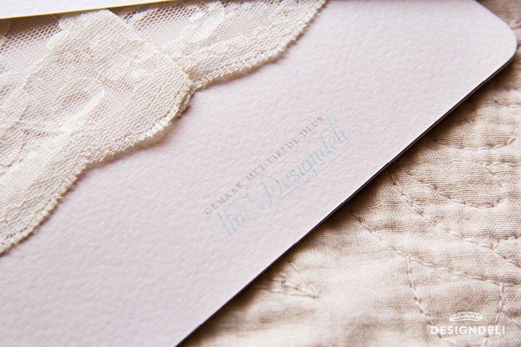 Romantic Mint & Peach Square Invitation with lace - Invitation Stationery