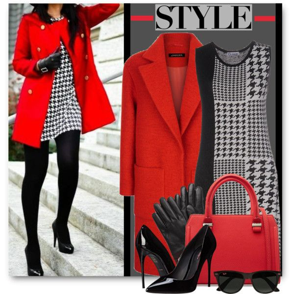 Houndstooth Dress & Red Coat by brendariley-1 on Polyvore featuring Ilaraà , Jaeger, Dolce&Gabbana, Victoria Beckham, New Directions and Ray-Ban