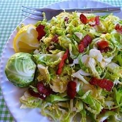"""Brussels Sprouts with Bacon Dressing I """" What a great way to feature this veggie! Its very similar to a warm cabbage slaw and definitely added the fresh crunch my dinner plate needed."""""""