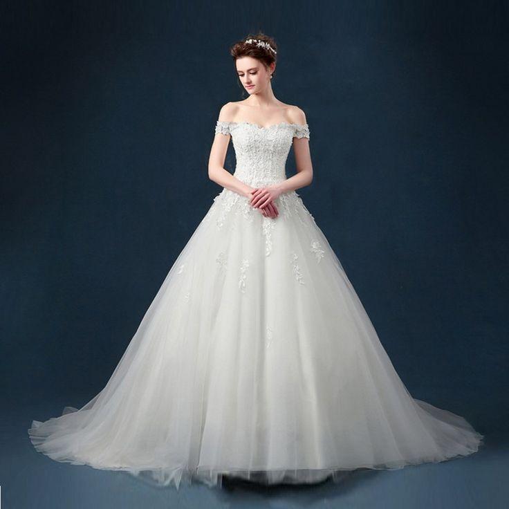 Королевский off-плечи свадебное платье с аппликациями без бретелек халат де Mariage длинные узелок Casamento романтические свадебные платья B03